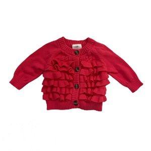 Hanna Andersson Pink Cardigan Ruffle Sweater